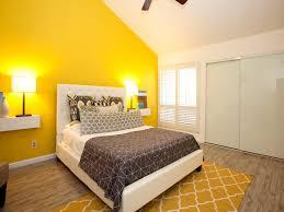 bed yellow walls bedroom