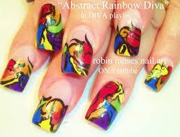 bright rainbow abstract nails long nail art design tutorial