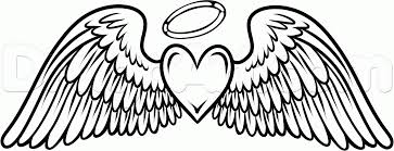 coloring pages of a heart heart with angel wings coloring pages angel wing coloring page
