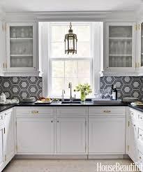 kitchen with hex backsplash contemporary kitchen