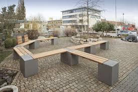 Designer Wooden Garden Bench by Garden Bench Contemporary Wooden Stone Tric Rinn Beton