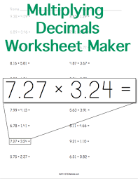 customizable and printable multiplying decimals worksheet maker