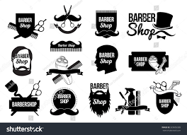mens haircut logobarber shop logo design stock vector 323652338