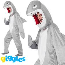 Shark Costume Halloween Shark Adults Fancy Dress Sea Animal Mens Ladies Costume Halloween
