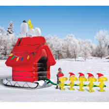 decoration the snoopy and friends inflatable sleigh hammacher