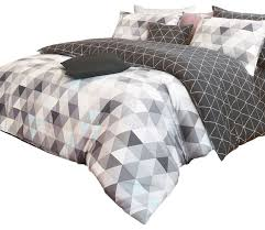 reversible charcoal and gray triangle pattern sateen duvet cover