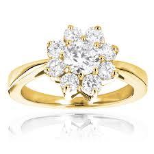 cluster rings diamond cluster rings 14k gold diamond flower ring 1 2ct