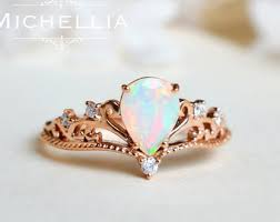 opal and engagement ring vintage opal floral engagement ring with by michelliadesigns