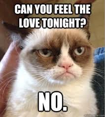 Feel The Love Meme - can you feel the love tonight no grumpy jean cat quickmeme