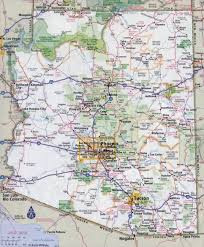 America Map With States by Large Detailed Road Map Of Arizona State With All Cities Vidiani