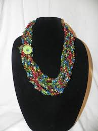 ladder ribbon chain crochet ladder ribbon yarn necklace scarf with button