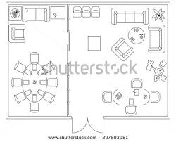 Set Design Floor Plan Architectural Set Furniture Design Elements Floor Stock Vector