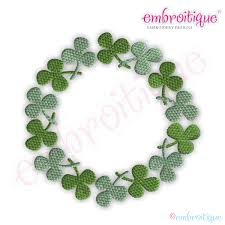 embroitique shamrock circle font frame small