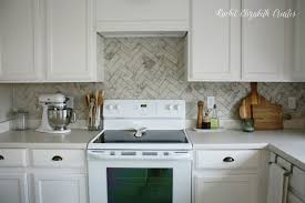 Kitchen Marble Backsplash 40 Carrara Marble Herringbone Inspired Backsplash Tutorial