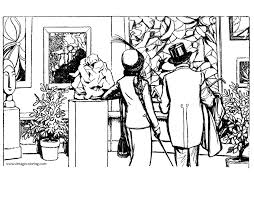 exhibition of cubist art a free vintage coloring page