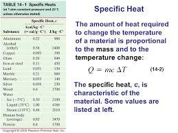 Specific Heat Table Heat Heat As Energy Transfer Internal Energy Specific Heat