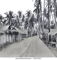 digital illustration village jungle traditional filipino stock
