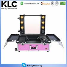 rolling makeup case with lighted mirror cosmetics studio togo makeup case with light pink rolling aluminum