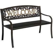 Bench Outdoor Furniture Leigh Country Welcome Outdoor Garden Bench Black Gold Walmart Com