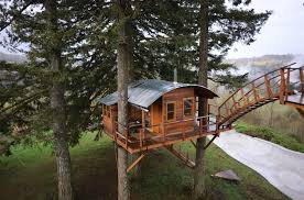 three house would you live in a tree house that comes with a tub and