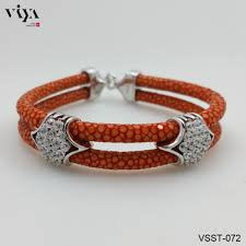 men jewelry bracelet images Vivid orange stingray leather bracelet exotic leather men jewelry jpg