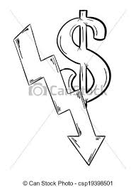 vector clipart of sketch of the money decreasing with dollar