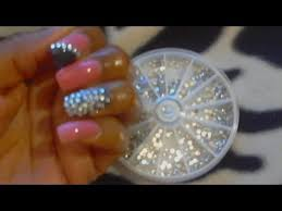 diy quick rhinestone trend nail design bling bling youtube