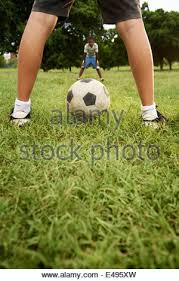 Kids Playing Backyard Football Happy African American Children Playing In Back Yard Stock Photo