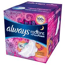Ultra Fin Radiant by Always Radiant Overnight Pads With Wings Scented 11 Count