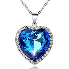 blue heart crystal necklace images Neoteric crystal heart necklace womens 925 sterling silver chain jpg