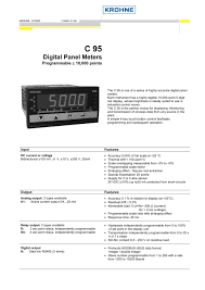 25 Square Meter by C95 Digital Panel Meter Krohne Messtechnik Pdf Catalogue