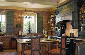rustic kitchen brick wall with wooden cabinets and double islands