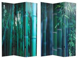 Canvas Room Divider 6 U0027 Tall Double Sided Bamboo Tree Canvas Room Divider Asian