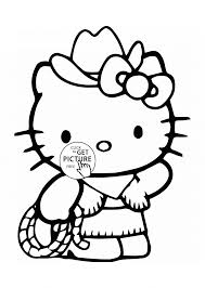 hello kitty is cowboy coloring page for kids for girls coloring