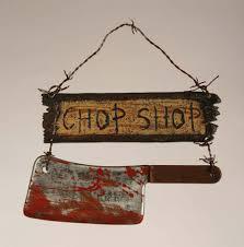 chop shop sign halloween prop gates of hell theme halloween