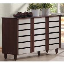 White Shoe Cabinet With Doors by Baxton Studio Gisela Oak And White 2 Tone Shoe Cabinet With 3