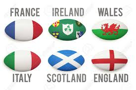 Country Flags England Six Nations Rugby Balls With Nations Flags On Them Stock Photo