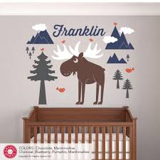 Personalized Name Wall Decals For Nursery by Happy Moose Wall Decal Baby Animal Nursery Wilderness Mountain