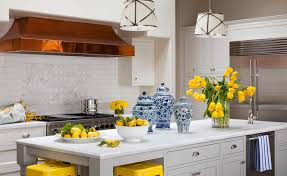 popular red blue and yellow kitchen with blue and yellow country
