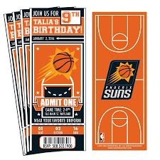 12 custom phoenix suns birthday party ticket invitations with