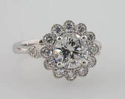 flower halo engagement ring flower halo ring etsy