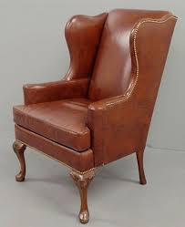 Queen Anne Wingback Chair Leather Queen Anne Style Red Leather Wing Chair 44