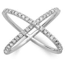 diamond x ring pavé 14k gold and diamond x ring tregali