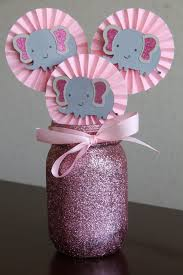 pink and gray chevron elephant baby shower decorations tags