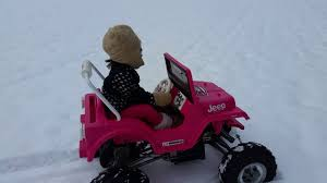 barbie jeep power wheels modified power wheels barbie jeep wrangler in the snow youtube