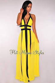 yellow dress halter slit maxi dress