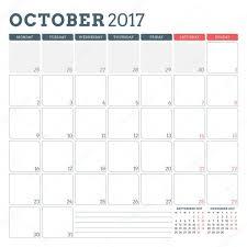 calendar planner template for october 2017 week starts monday 3