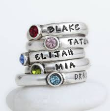 stackable birthstone rings for mothers stackable rings sted with name and birthstone personalized