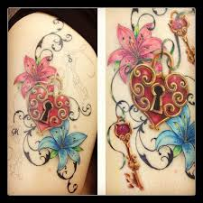 heart lock flowers n key tattoo design photo 2 photo pictures