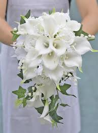 cascade bouquet touch white real touch calla lilies and roses cascade
